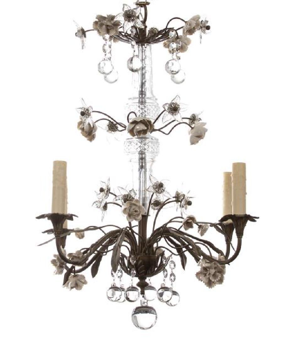 A Gilt Metal and Glass Four Light Chandelier with