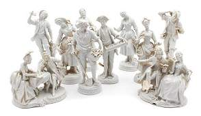 A Group of Twelve Volkstedt White Porcelain Figurines