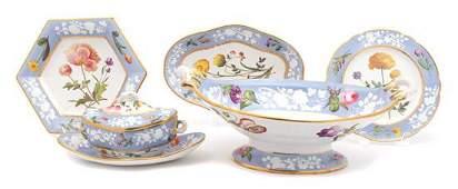 A Set of English Spode Botanical Porcelain