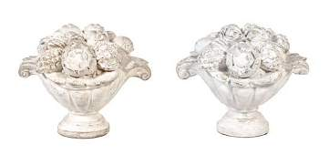 A Pair of Poured Cement Urns with Floral Arrangements