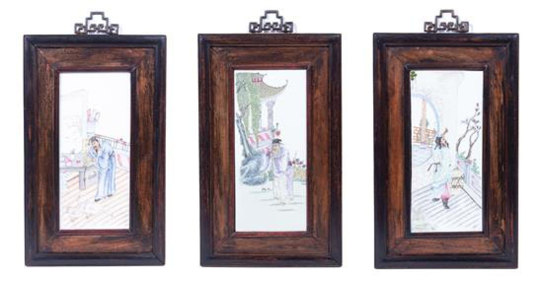 A Set of Three Chinese Enameled Porcelain Plaques