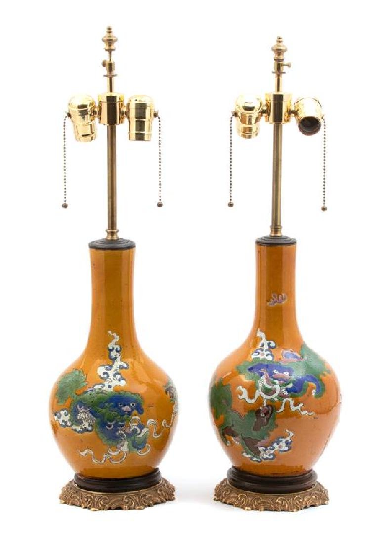 A Pair of Chinese Glazed Porcelain Vases Mounted as