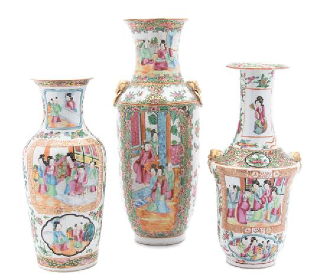 Three Chinese Export Rose Canton Vases