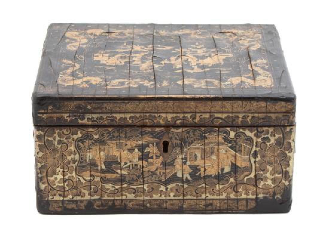 A Chinese Export Black and Gilt Lacquer Tea Caddy