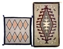 Two Gray Diamond Motif Navajo Rugs Largest 48 x 28