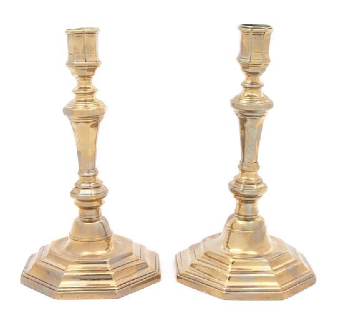 A Pair of Continental Brass Candlesticks