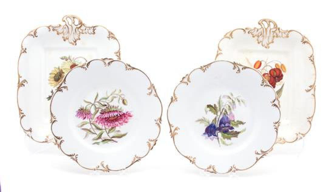 An English Porcelain Botanical Part Dessert Service