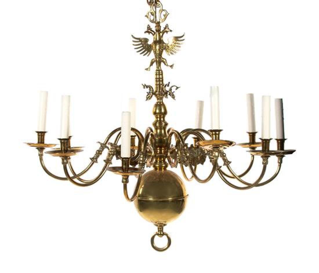 William & Mary Style Brass Ten-Light Chandelier Height
