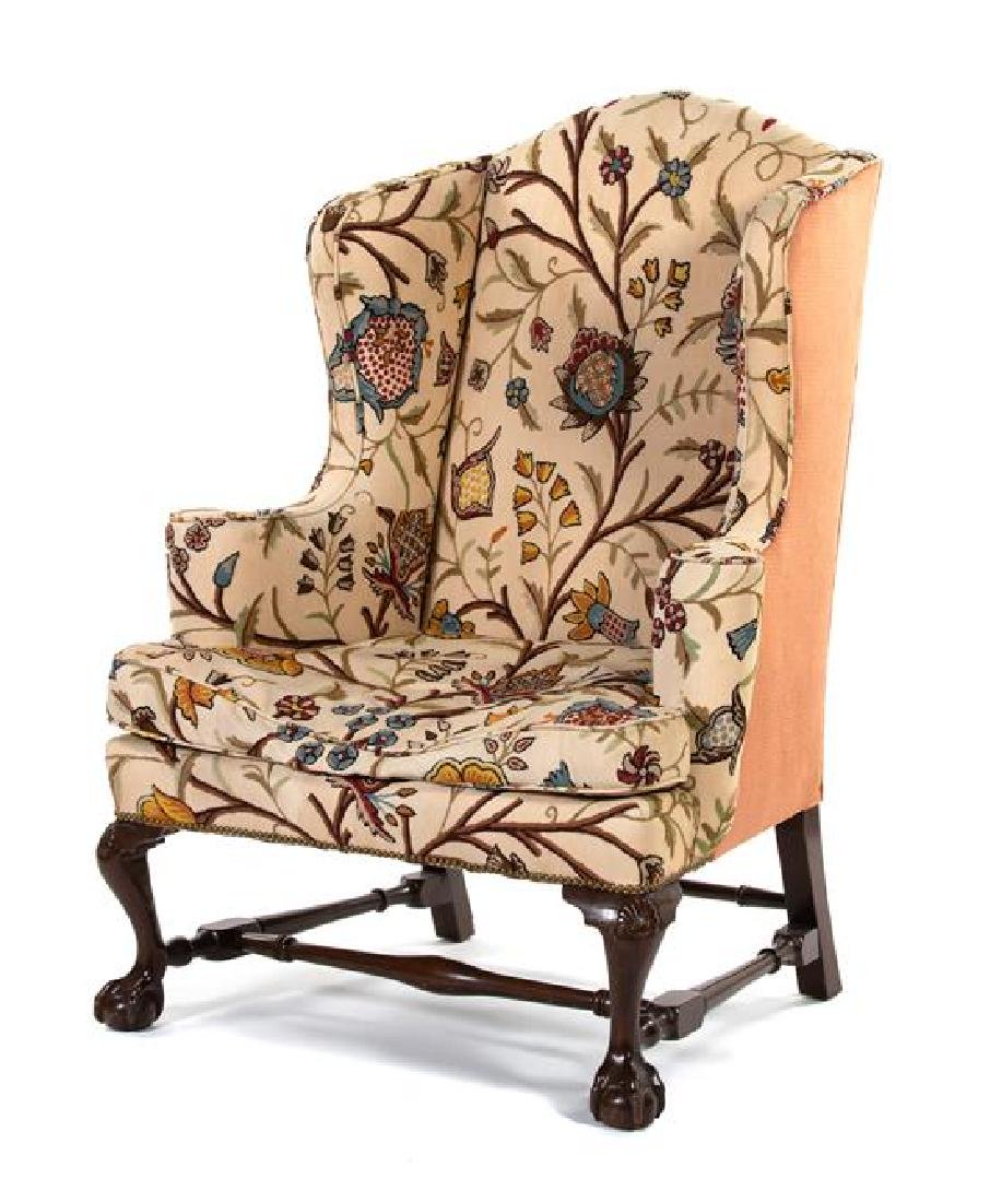 A Chippendale Style Mahogany Wing Armchair
