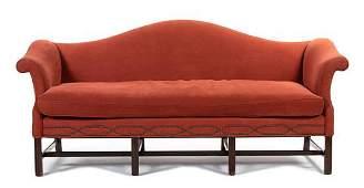 A George III Style Mahogany Camelback Sofa