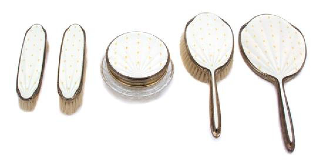 A Five-Piece English Silver and Enamel Vanity Set
