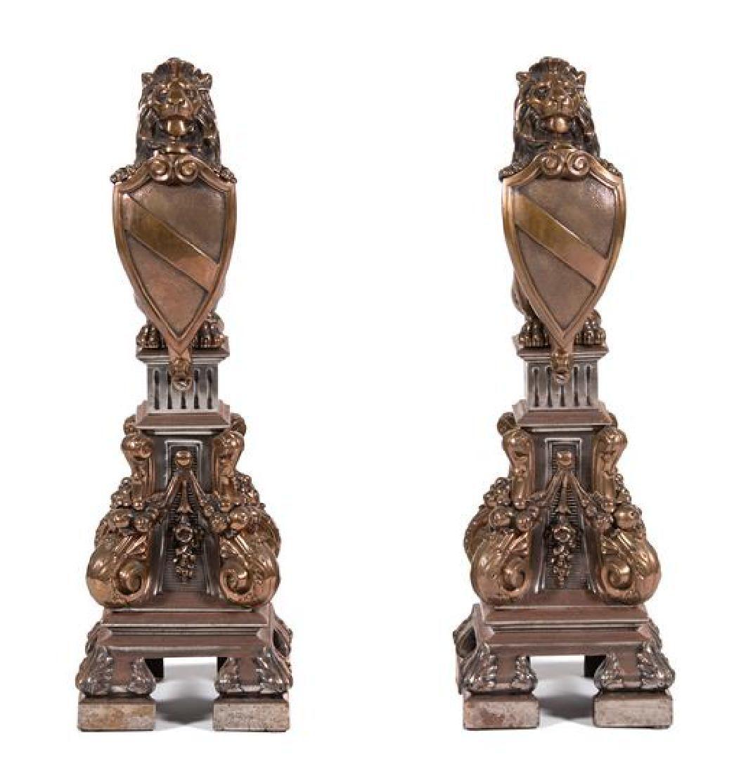 A Pair of Bronze Figures of Heraldic Lions