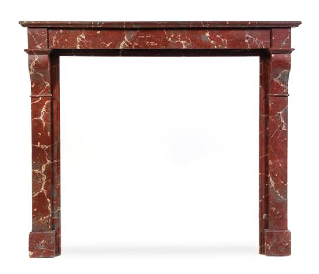 A Painted Faux Marble Fireplace Mantel Height 43 1/2 x