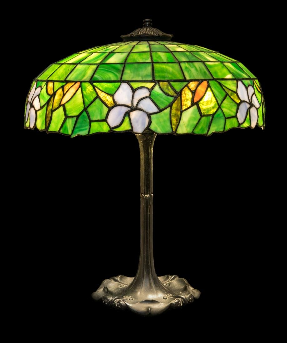 American, Early 20th Century, Table Lamp with Leaded