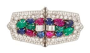 A Pair of Art Deco Platinum Diamond Ruby Sapphire