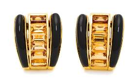 A Pair of 18 Karat Yellow Gold Citrine and Onyx