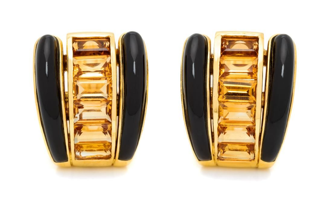 A Pair of 18 Karat Yellow Gold, Citrine and Onyx
