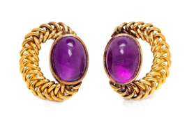 A Pair of 18 Karat Yellow Gold and Amethyst Earclips