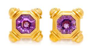 A Pair of Yellow Gold and Amethyst Earclips 2070
