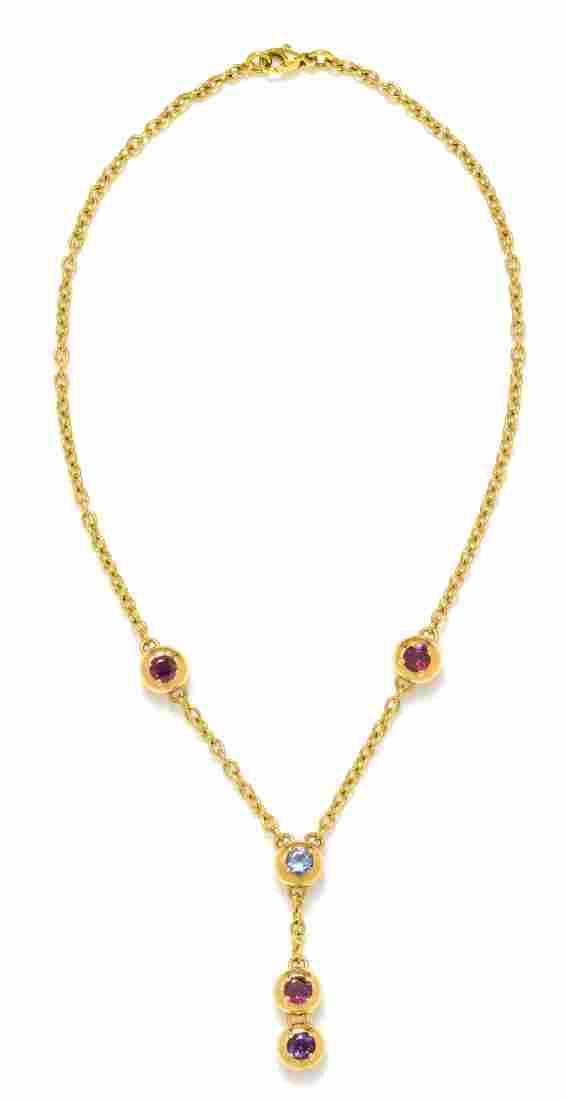 An 18 Karat Yellow Gold and Multigem Lariat Necklace,