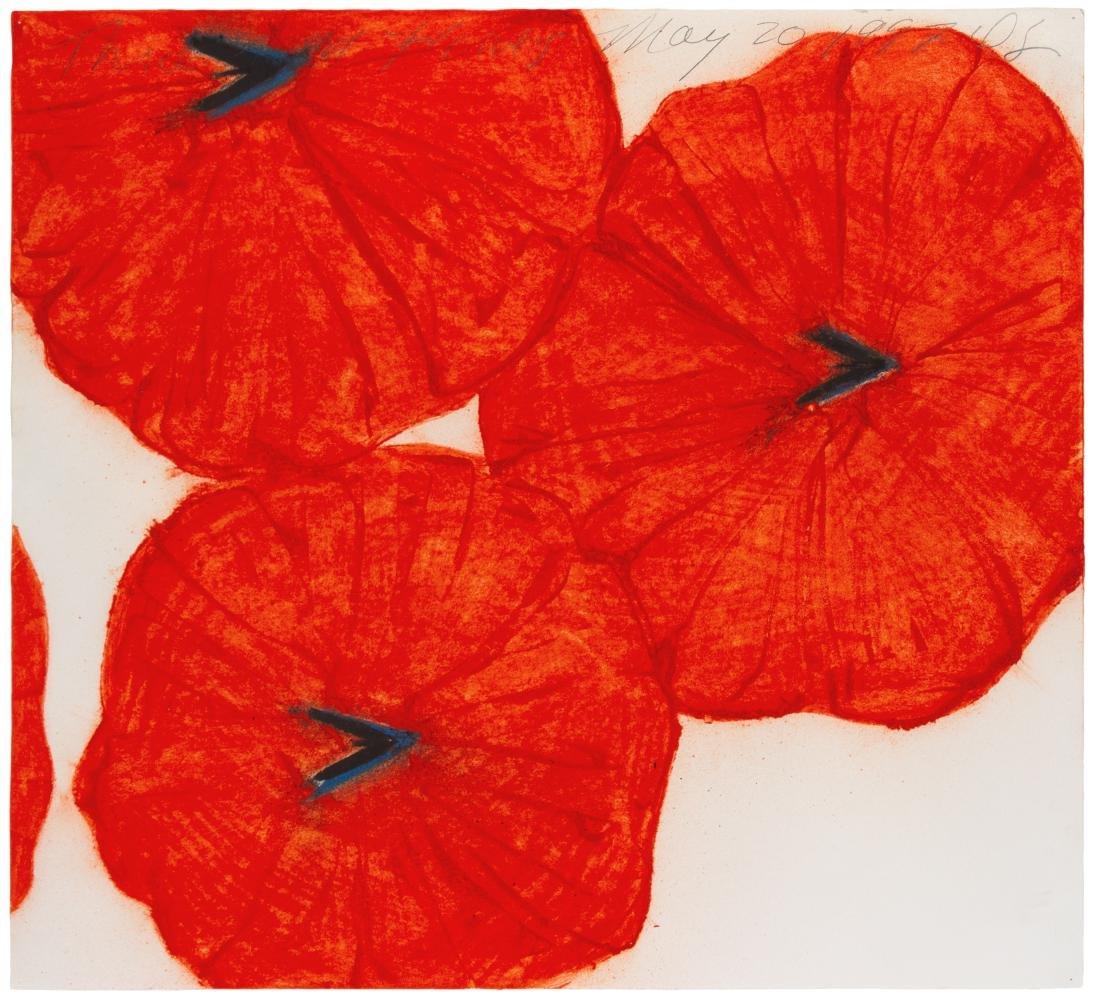 Donald Sultan, (American, b. 1951), Three Red Flowers,