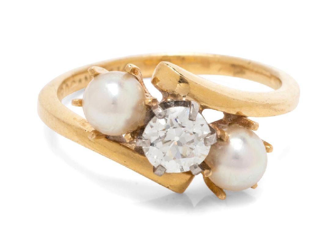 A 14 Karat Yellow Gold, Diamond and Cultured Pearl