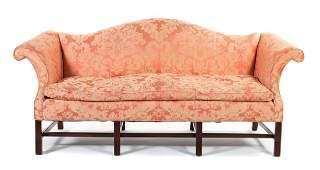 *George III Style Mahogany Camelback Sofa