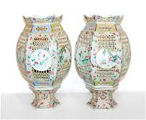 *A Pair of Chinese Reticulated Porcelain Lanterns