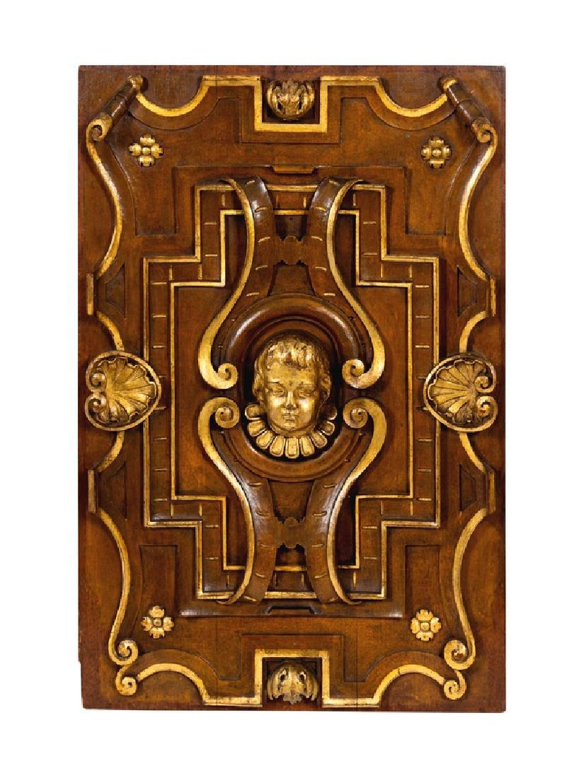 Six Italian Carved Walnut and Parcel Gilt Panels