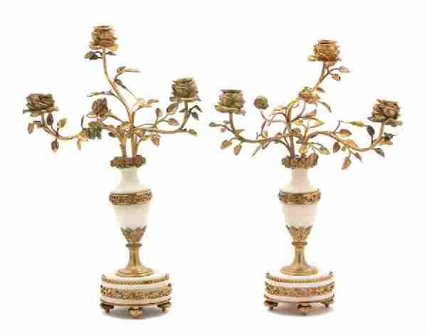 A Pair of French Gilt Bronze and Marble Two-Light