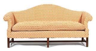A George III Style Mahogany Camel Back Sofa