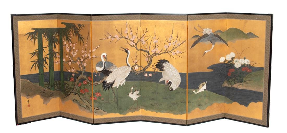 A Japanese Watercolor on Paper Six-Panel Floor Screen