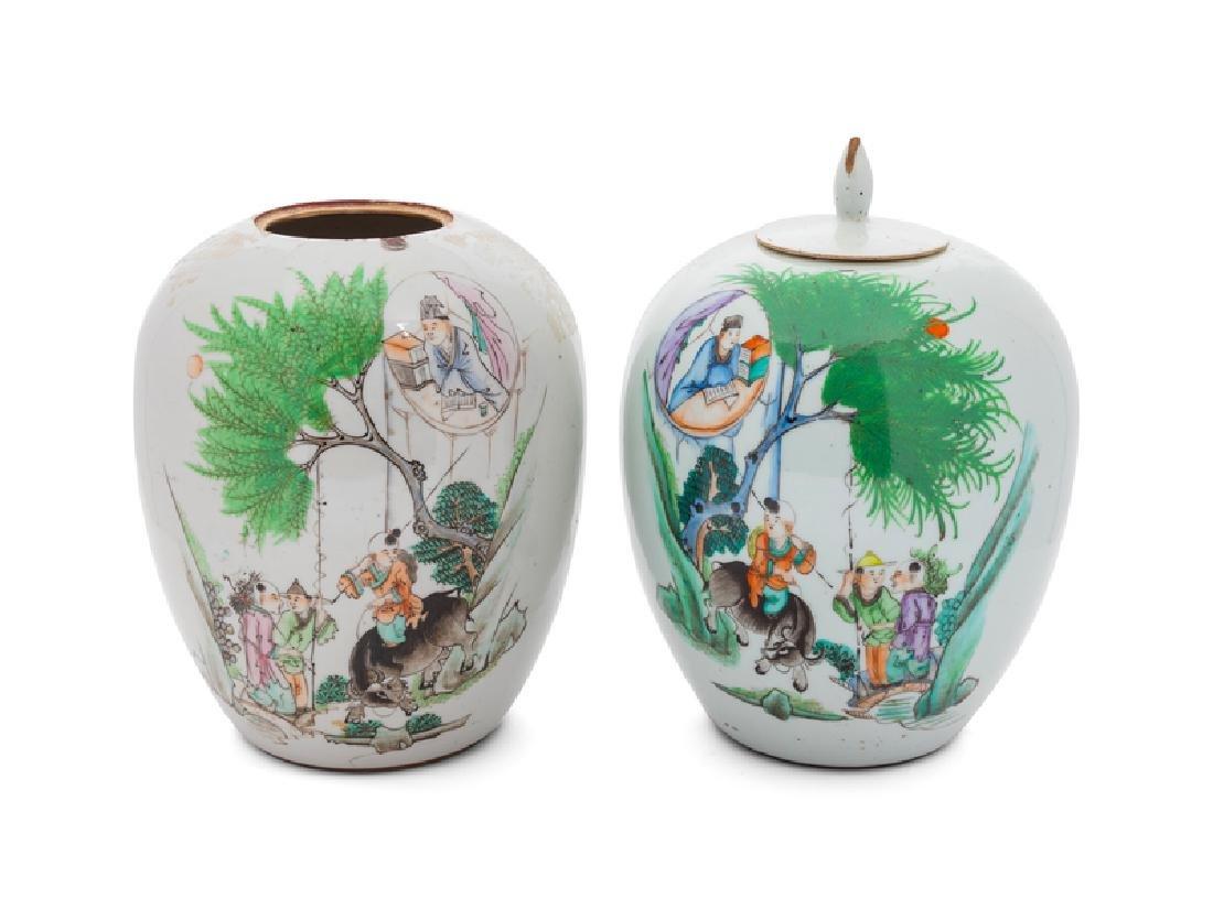 A Pair of Famille Verte Painted Porcelain Jars