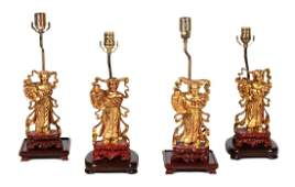 Two Pairs of Chinese Carved Giltwood Figures Mounted as