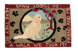 Two American Hooked Rugs and a Needlework Rug