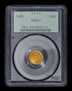 A United States 1880 Indian Princess $1 Gold Coin (PCGS