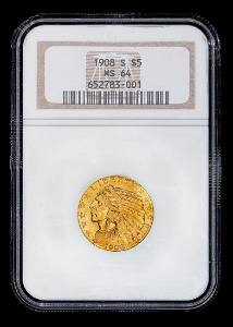 A United States 1908-S Indian Head $5 Gold Coin (NGC
