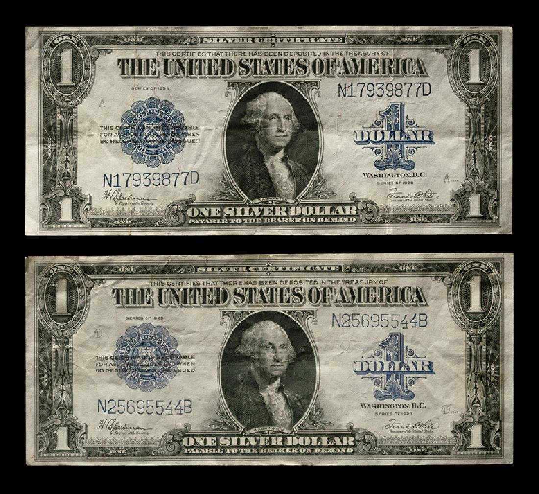 Two United States Series 1923 $1 Silver Certificates