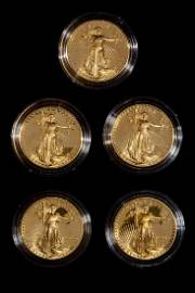*A Group of Five United States 1986 Gold Eagle 1 Oz.