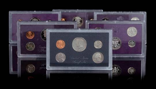 A Group of Six United States FiveCoin Proof Sets