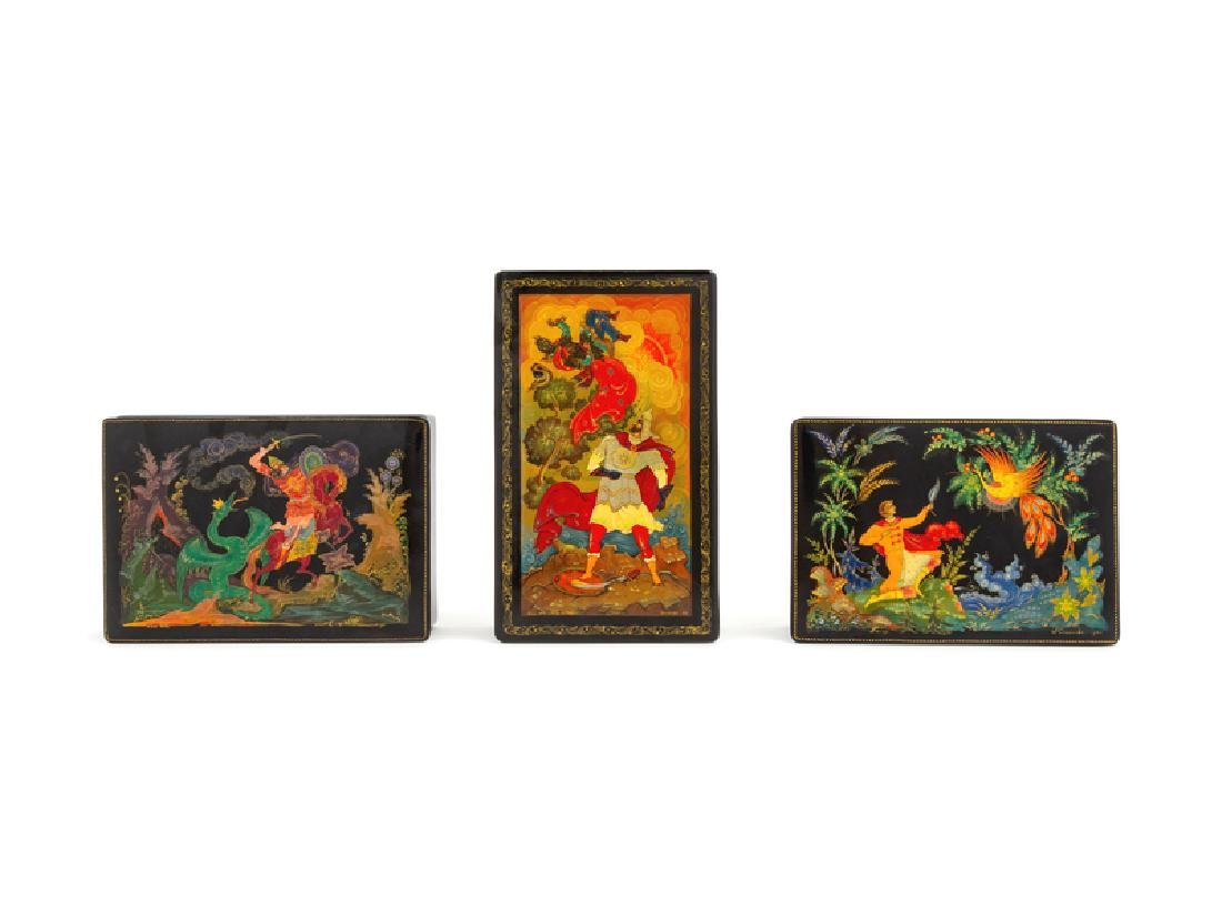A Group of Three Russian Lacquered Boxes SECOND