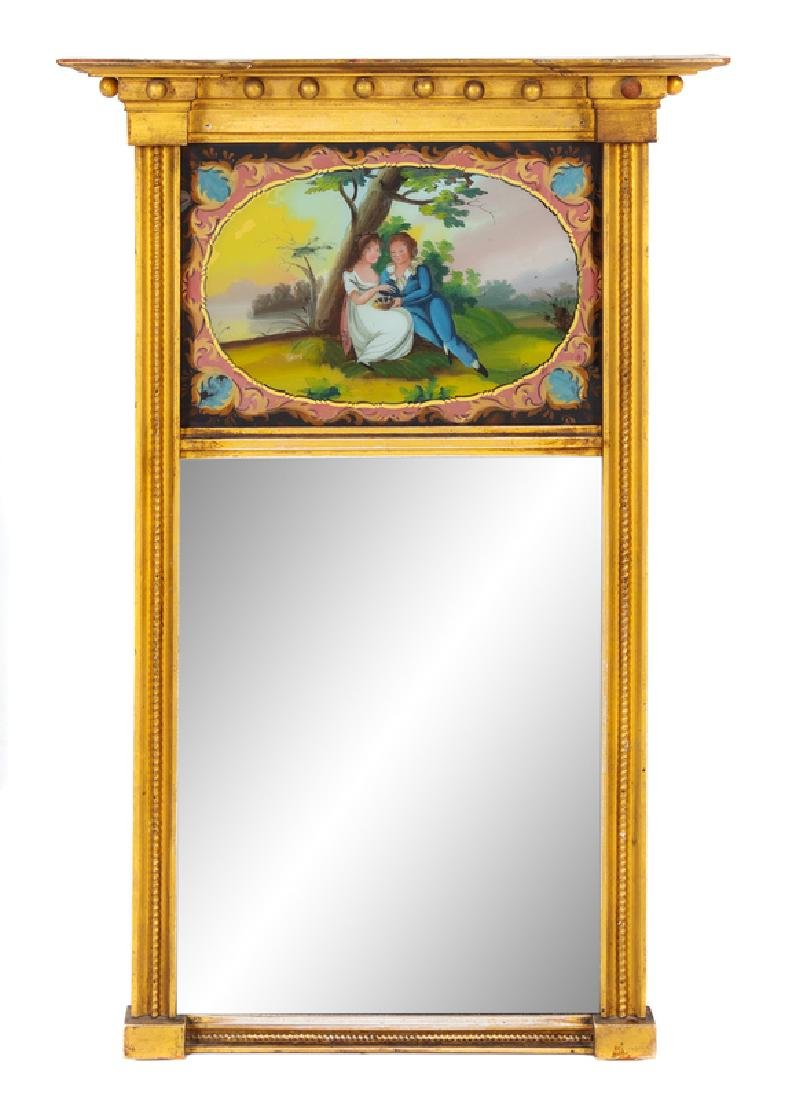 A Federal Style Giltwood Reverse Painted Trumeau Mirror