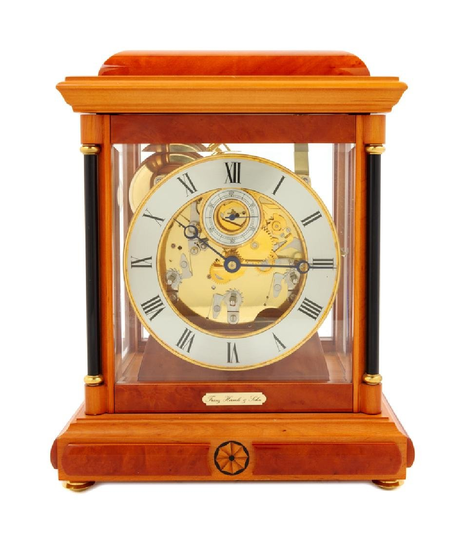 A German Burlwood and Marquetry Mantel Clock