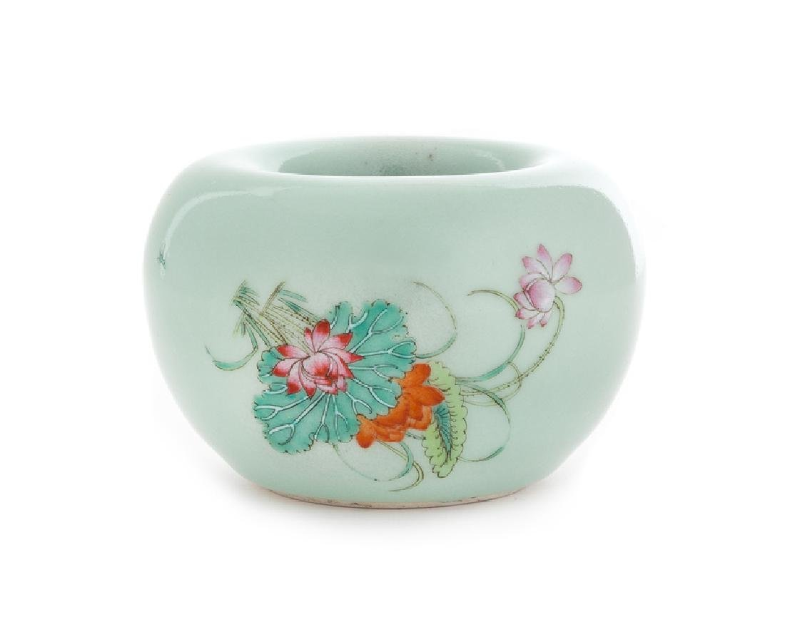 A Celadon Ground Famille Rose Porcelain Water
