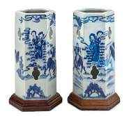 A Pair of Chinese Blue and White Porcelain Hexagonal