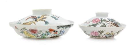 Two Chinese Famille Rose Porcelain Covered Bowls LATE