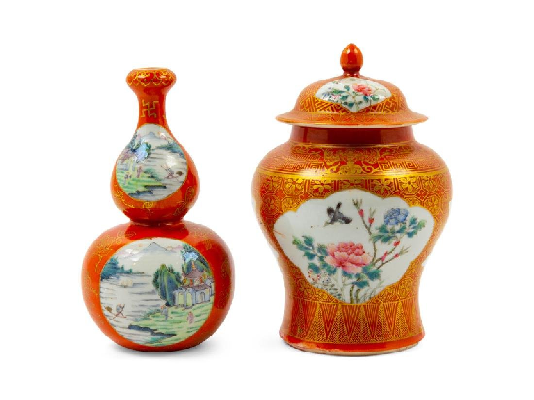 Two Chinese Coral Ground Gilt Decorated and Famille