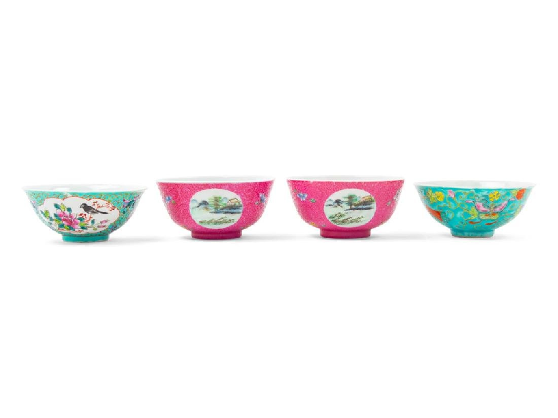 Four Chinese Famille Rose Porcelain Bowls comprising a