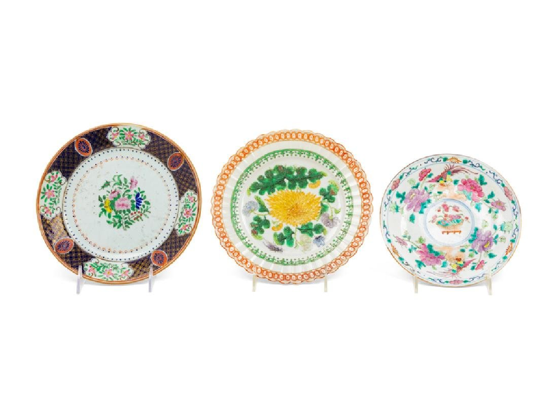 A Group of Six Chinese Famille Rose Porcelain Plates