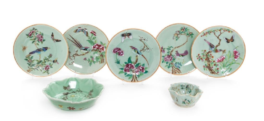 Seven Chinese Famille Rose Porcelain Articles 19TH